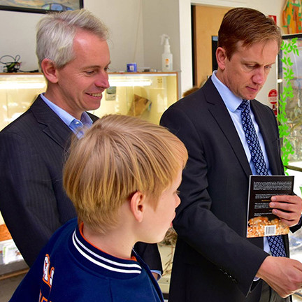 Visiting a school with Julian Hill MP